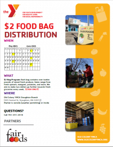 $2 food bag distribution Old Colony YMCA